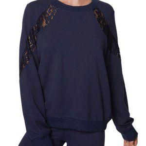 Betsy Johnson navy blue workout top lace insert